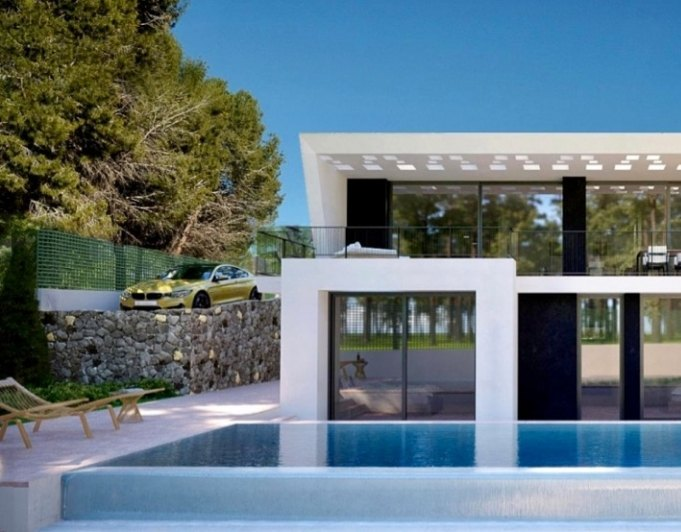 Newly built modern villa with views to the...