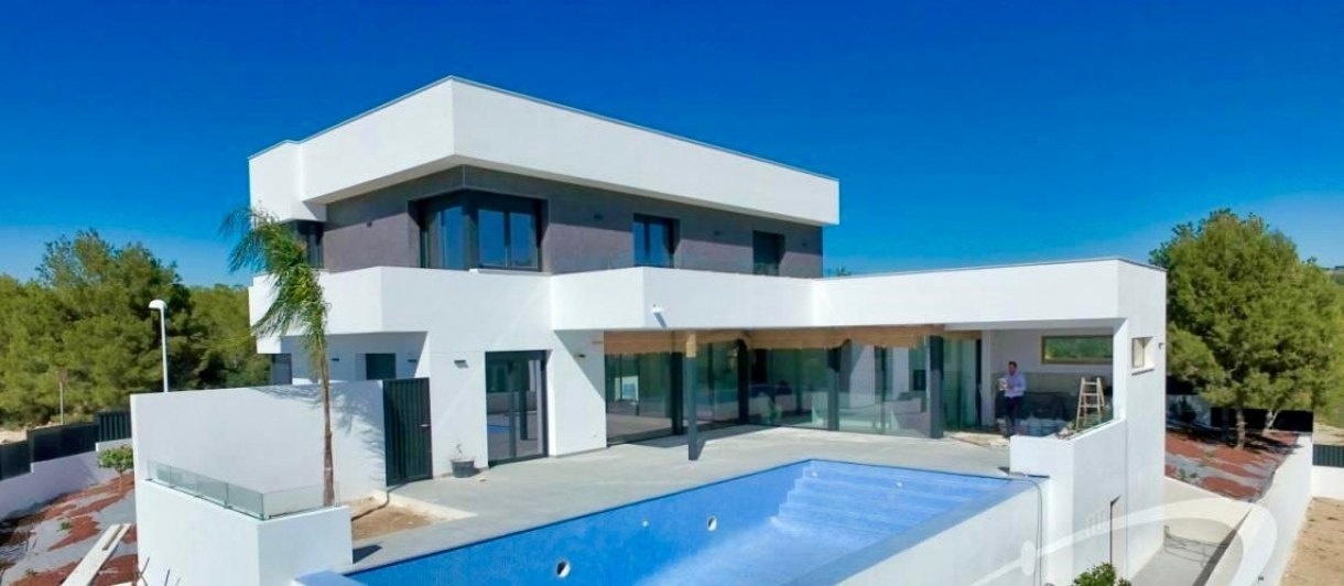 Newly built modern luxury villa with sea v...