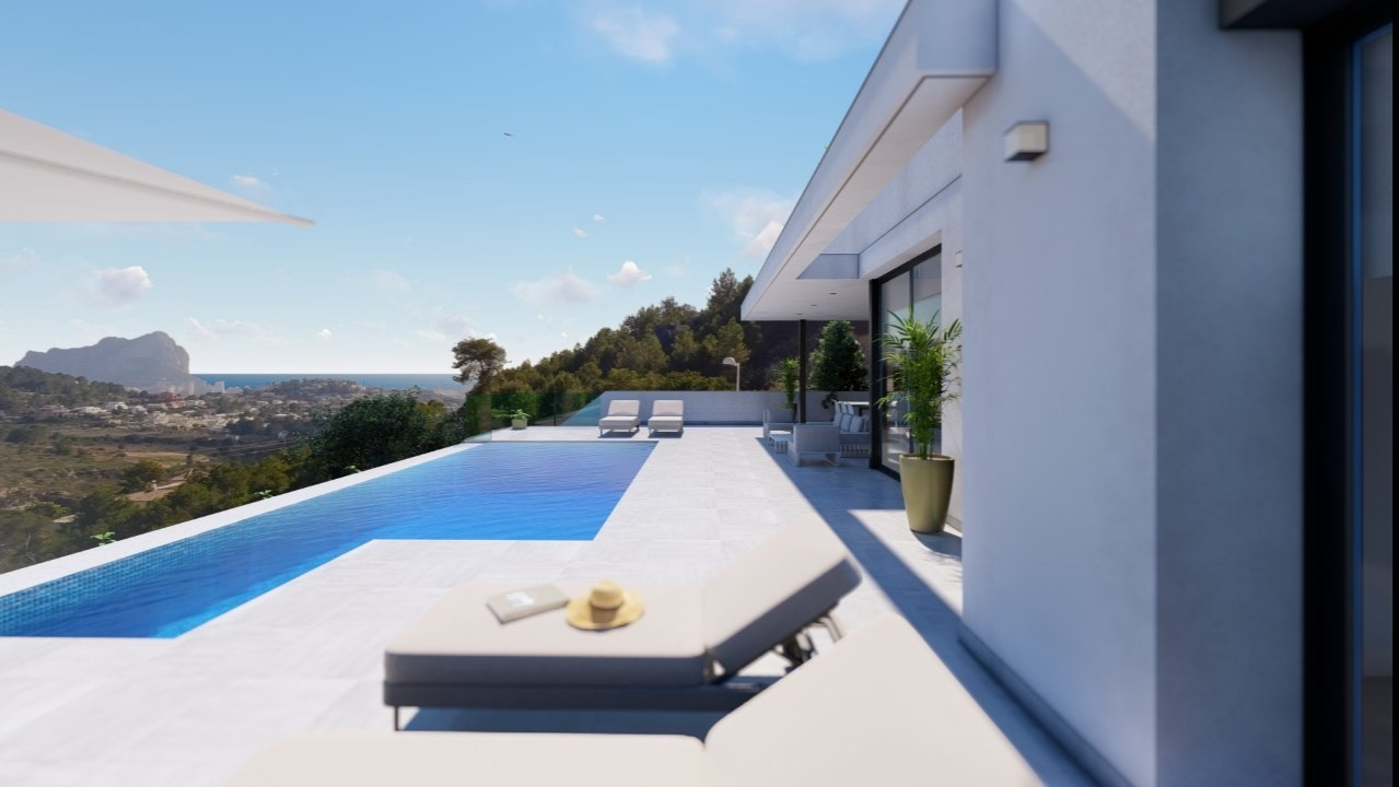 New built villa on one floor with sea view...
